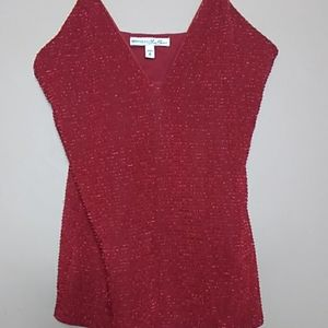 Express Red Shimmery Low V-Cut Camisole